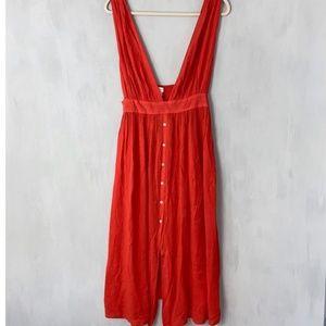 Topshop Coral Pinafore Dress